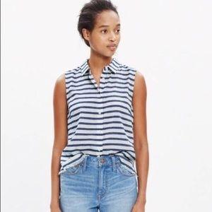 Madewell Striped Sleeveless Button Top